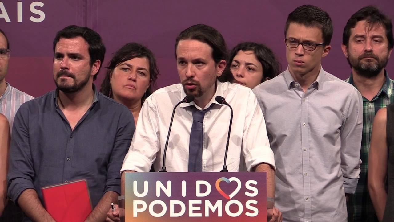 La cúpula de Unidos Podemos la pasada noche electoral